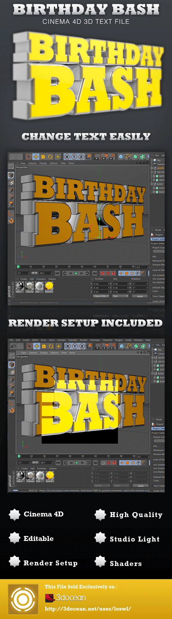 Birthday Bash Cinema 4D 3D Text File - 3DOcean Item for Sale