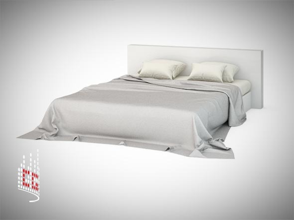 Bed with photorealistic cloths. - 3DOcean Item for Sale
