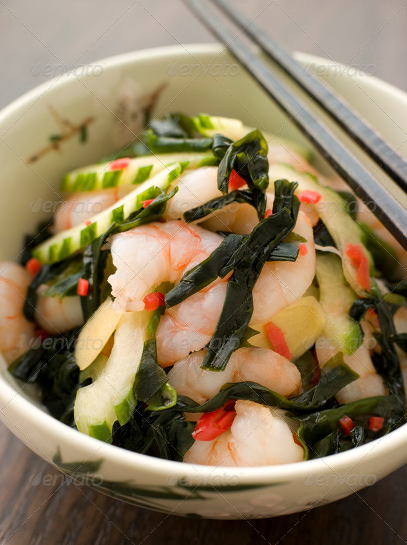Tiger Prawn Wakame and Cucumber Salad with Ginger - Stock Photo - Images