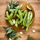 Fresh raw broad beans in pods, top view - PhotoDune Item for Sale