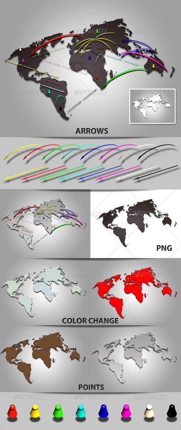 3D World Map with Arrows - Miscellaneous 3D Renders
