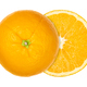 Orange cut in half, both halves laterally offset, from above, over white - PhotoDune Item for Sale