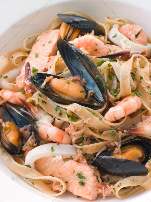 Bowl of Seafood Tagliatelle - Stock Photo - Images