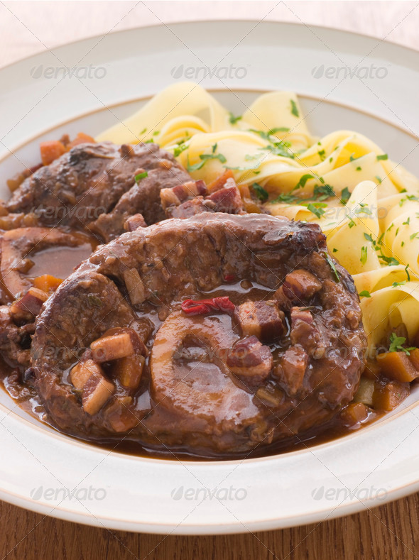 Osso Bucco alla Milanaise with Herb Tagliatelle - Stock Photo - Images