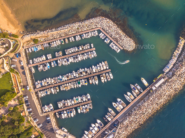 Marina top down aerial view crop - Stock Photo - Images