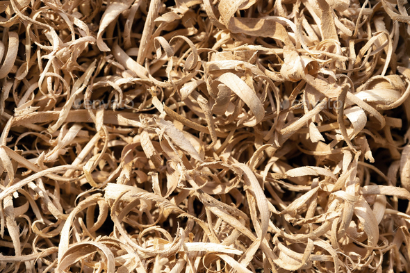 Wood shavings in a carpentry workshop - Stock Photo - Images