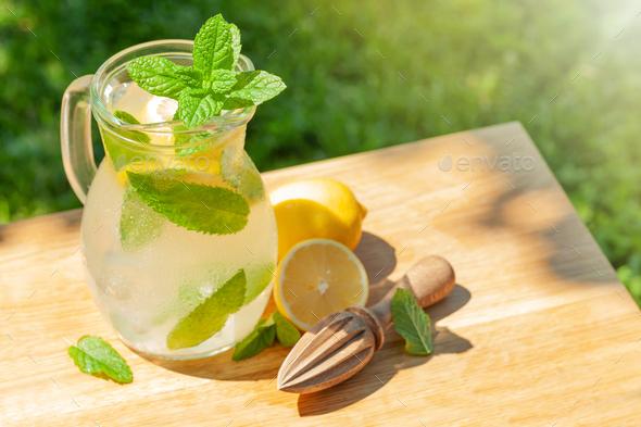Fresh homemade lemonade with lemon and mint - Stock Photo - Images