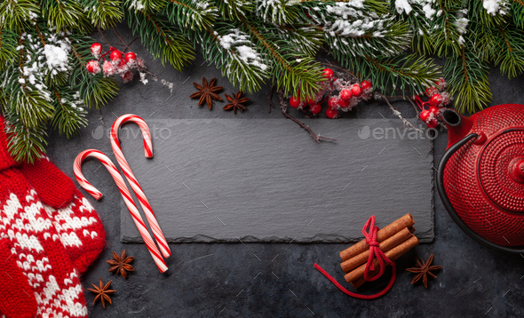 Christmas card with sweets and tea - Stock Photo - Images
