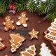 Christmas card with gingerbread cookies and fir tree - PhotoDune Item for Sale