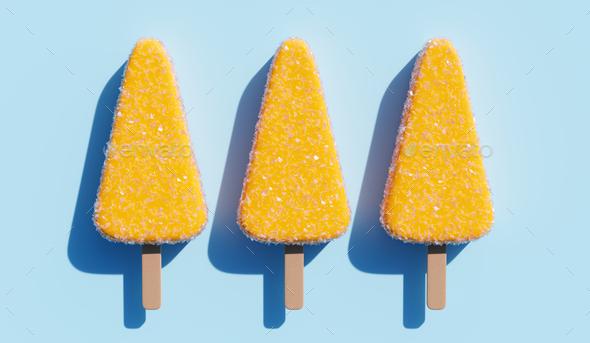 Lemon popsicles background. - Stock Photo - Images