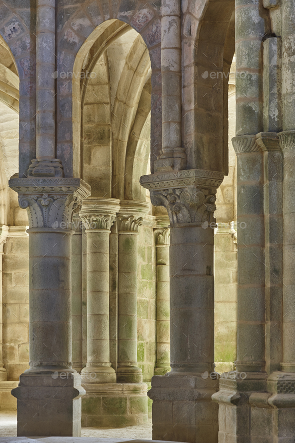 Romanesque style columns in Carboeiro monastery in Galicia, Spain - Stock Photo - Images