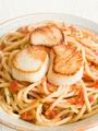 Seared Scallops with Chilli and Tomato Spaghetti