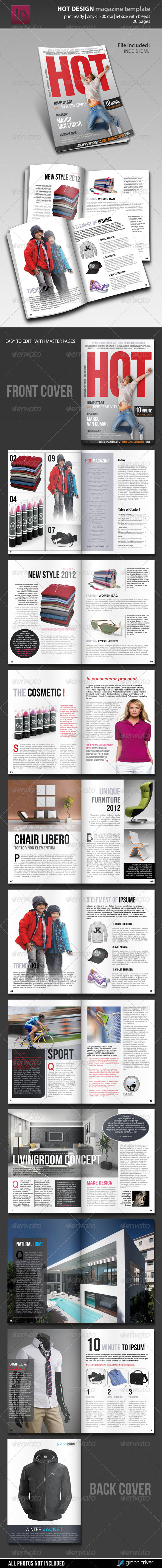 Hot Design Magazine Template - Magazines Print Templates