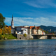 Bad Tolz - picturesque resort town in Bavaria, Germany in autumn and Isar river - PhotoDune Item for Sale