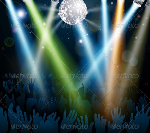 Mirror ball dance floor crowd - Miscellaneous Vectors