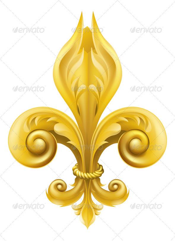 Gold Fleur-de-lis design - Decorative Symbols Decorative