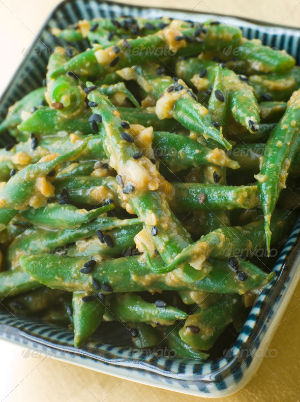 Miso Green Beans with Peanut Sauce - Stock Photo - Images