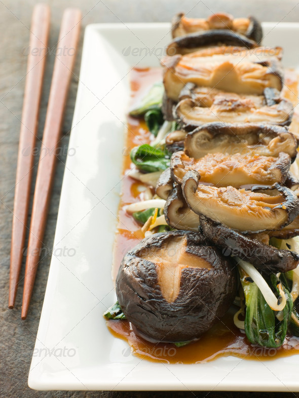 Fried Shitake Mushrooms with Shoyu Pac Choi and Bean sprouts - Stock Photo - Images