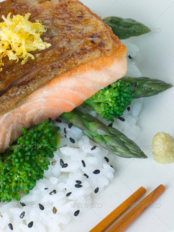 Citrus Salmon Fillet on Rice Steamed Vegetables with Sesame and Wasabi - Stock Photo - Images