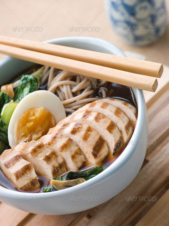 Chargrilled Chicken Soba Noodle and Miso Soup - Stock Photo - Images
