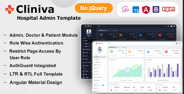 Awesome Cliniva Hospital - Angular 12+ Medical Admin Dashboard Template For Doctors & Clinics
