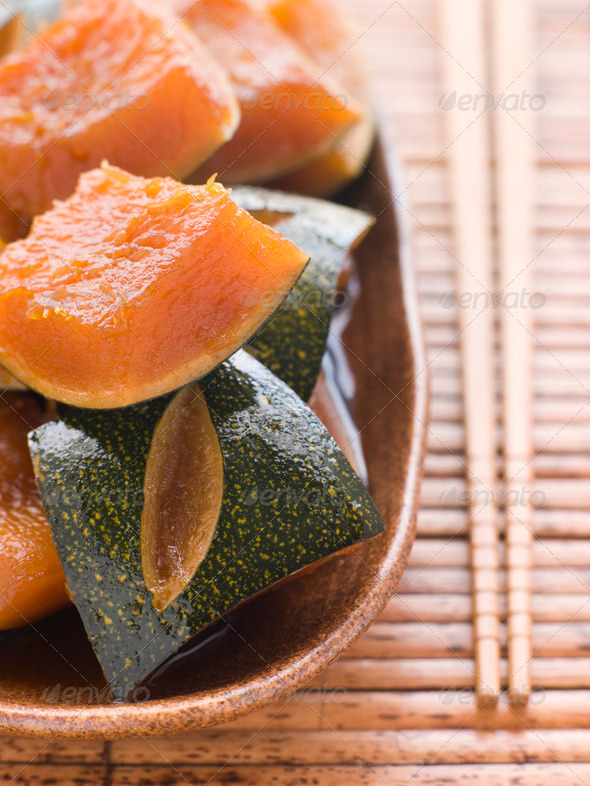 Sweet Soy simmered Pumpkin - Stock Photo - Images