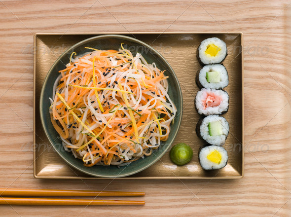 Daikon and Carrot Salad with Sesame Sushi and Wasabi - Stock Photo - Images