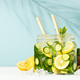 Detox infused water. Refreshing homemade cocktails summer drinks, selective focus - PhotoDune Item for Sale