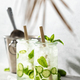 Summer sparklers, cucumber iced cocktail, hard light and shadows and tropical palm leaf - PhotoDune Item for Sale