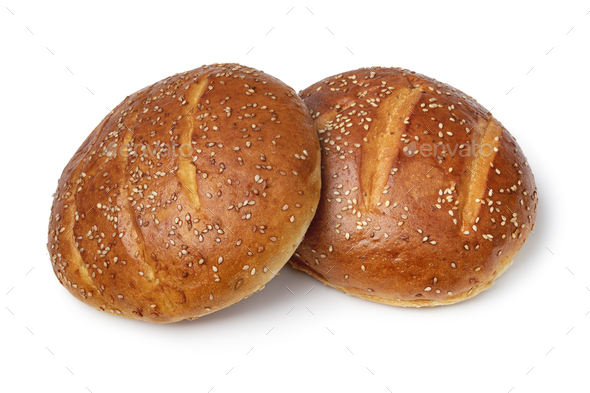 Pair of traditional Moroccan krachel rolls on white background - Stock Photo - Images