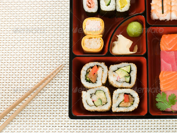 Selection of Sushi In a Bento Box - Stock Photo - Images