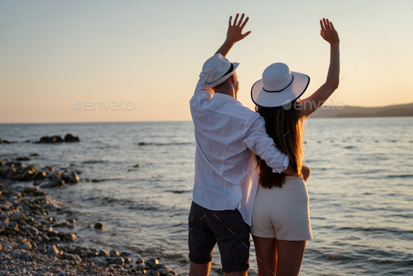 Happy couple in love on honeymoon vacation travel - Stock Photo - Images