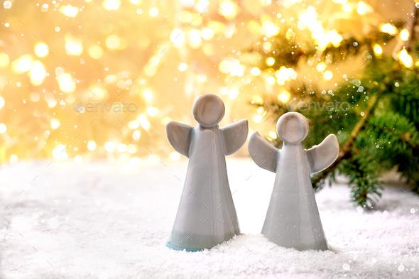 Ceramic Christmas angels - Stock Photo - Images