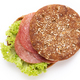 Sandwich with salami sausage on white background. - PhotoDune Item for Sale