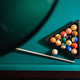 Billiard table with green surface and balls in the billiard club.Pool Game - PhotoDune Item for Sale