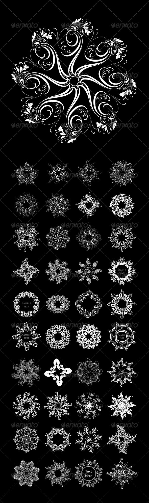 40 Abstract Flowers (vector set) - Flourishes / Swirls Decorative