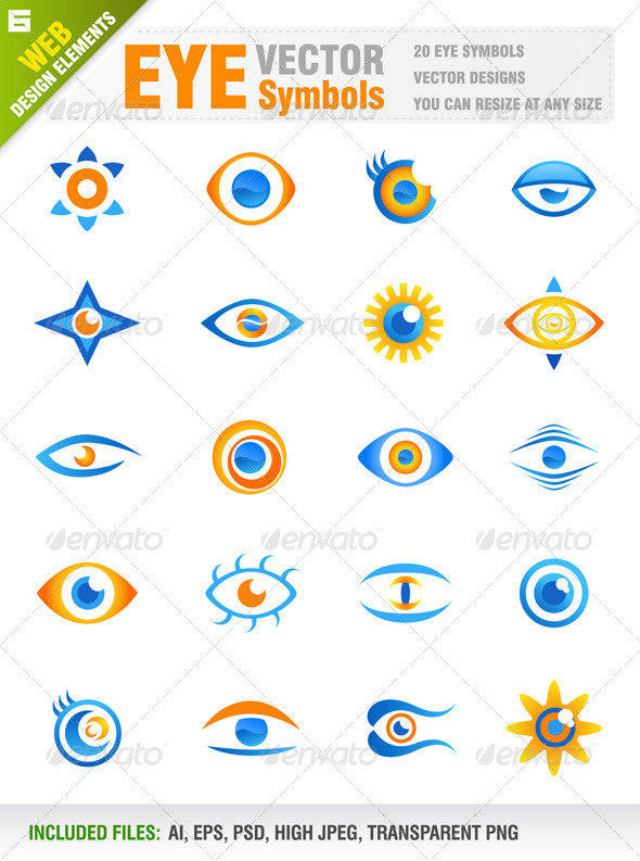 20 Eye Vector Icons - People Characters