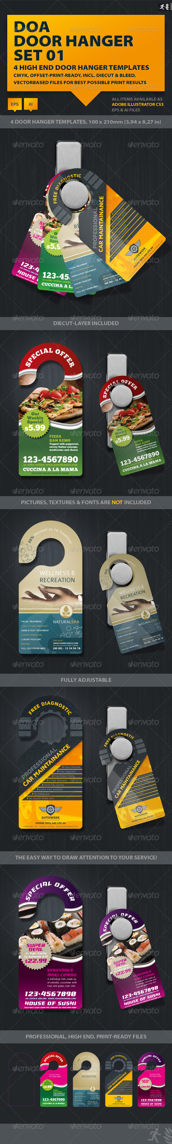 DOA Door Hanger Set 01 - Miscellaneous Print Templates