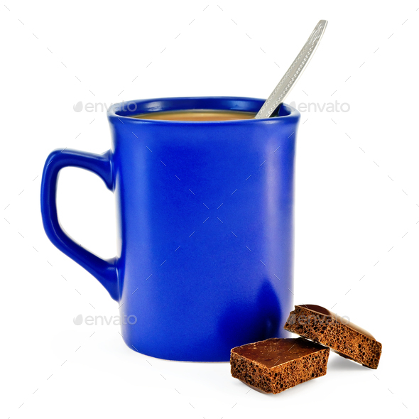 Coffee with milk in a blue cup with chocolate - Stock Photo - Images