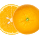 Ripe fresh orange cut in half, laterally offset, from above - PhotoDune Item for Sale