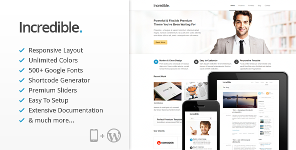 Incredible – Responsive WordPress Theme