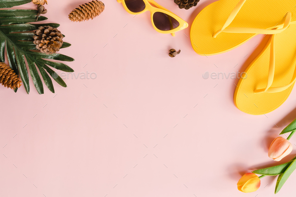 Creative flat lay photo of travel vacation spring or summer tropical fashion. - Stock Photo - Images