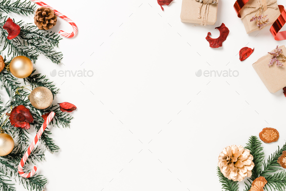 Minimal creative flat lay of christmas traditional composition and new year holiday season. - Stock Photo - Images