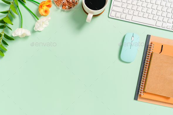 Minimal work space - Creative flat lay photo of workspace desk. - Stock Photo - Images