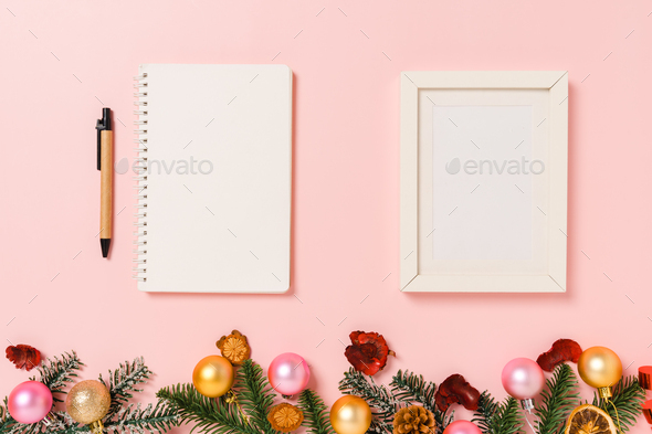 Minimal creative flat lay of winter christmas traditional composition and new year holiday season. - Stock Photo - Images