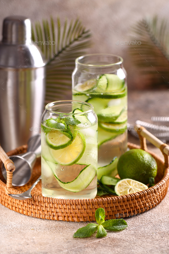 Lemonade with Lime and Cucumber - Stock Photo - Images