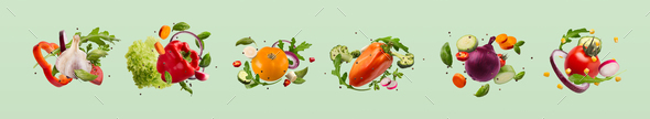 Sets of summer vegetables and greens in a row - Stock Photo - Images