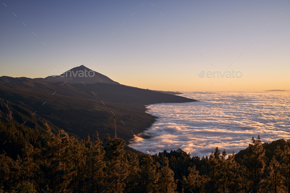 Landscape with volcano Pico de Teide above clouds at sunset - Stock Photo - Images