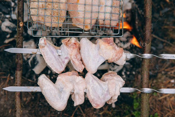 Grill season outdoor in park. Spring summer grilling - Stock Photo - Images