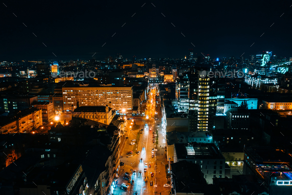 High-altitude aerial view of the city at night - Stock Photo - Images